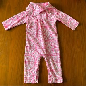 Kate Quinn pink toile shawl collar long romper